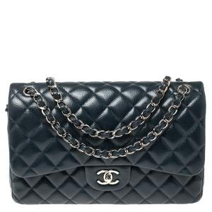 Chanel Dark Teal Quilted Caviar Leather Jumbo Classic Double Flap Bag