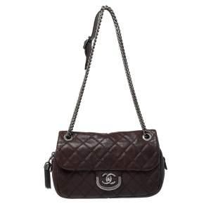 Chanel Dark Brown Quilted Leather Medium Coco Sporran Shoulder Bag