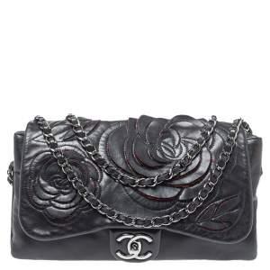 Chanel Black Leather Paris Shanghai Camellia Flap Bag
