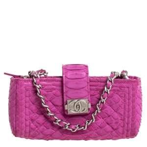 Chanel Pink Python Phone Holder Chain Clutch