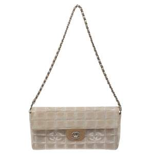 Chanel Beige Chocolate Bar Quilted Fabric CC East West Flap Bag