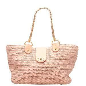 Chanel Pink Leather CC Raffia Bag