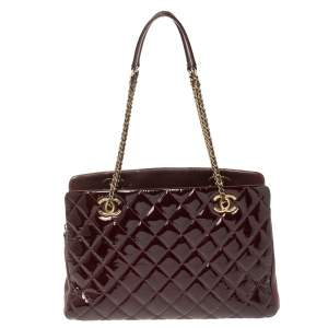 Chanel Wine Red Quilted Patent Leather Large CC Eyelet Tote