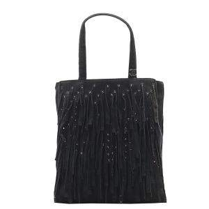 Chanel Black Suede Vintage Fringe Bag