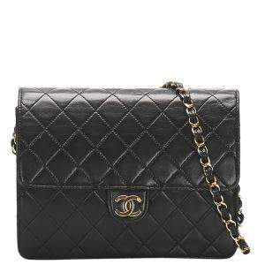 Chanel Black Lambskin Leather Classic Square Flap Bag
