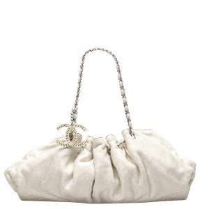 Chanel White Cotton Cabas Bag