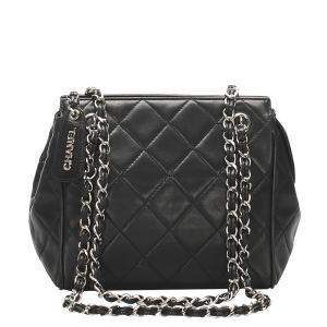 Chanel Black Lambskin Leather Vintage Quilted Bag