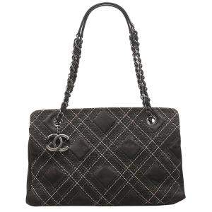 Chanel Black Leather and Suede Wild Stitch Bag