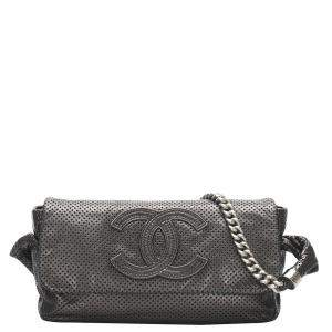 Chanel Black Perforated Leather CC Bag
