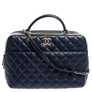 حقيبة باولر شانيل تريندي سي سي جلد مبطن زرقاء كبيرة