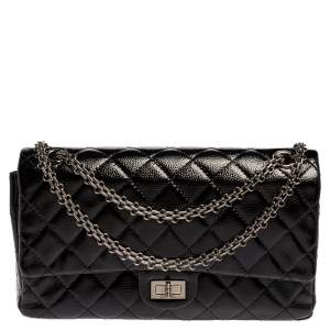 Chanel Black Quilted Caviar Patent Leather Reissue 2.55 Classic 226 Flap Bag