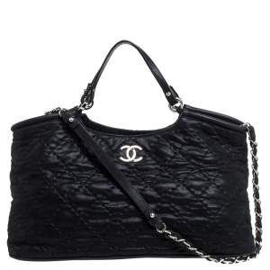 Chanel Black Quilted Glazed Leather Chain Tote