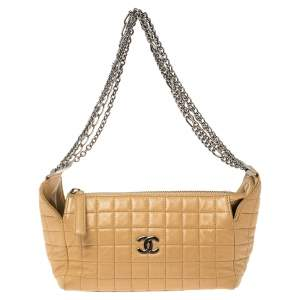 Chanel Beige Chocolate Bar Leather Multiple Chain Baguette Bag
