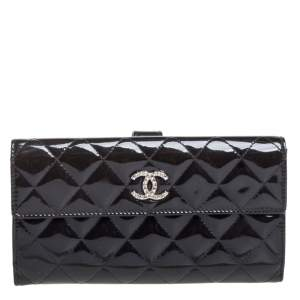 Chanel Black Quilted Patent Leather CC Brilliant Wallet