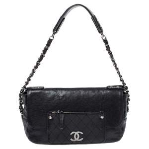 Chanel Black Quilted Caviar Leather Pocket in the City Flap Shoulder Bag