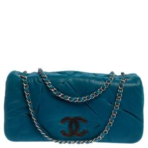 Chanel Blue Iridescent Glint Leather East West Flap Shoulder Bag