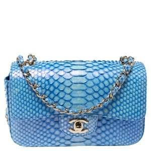 Chanel Blue Shimmer  Python New Mini Classic Single Flap Bag
