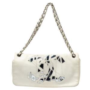 Chanel White Leather Metal Mosaic CC East/West Flap Bag