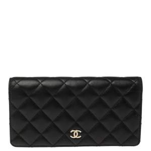 Chanel Black Quilted Leather L Yen Continental Wallet