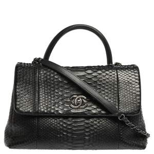 حقيبة شانيل كوكو متوسطة يد علوية جلد ثعبان أسود
