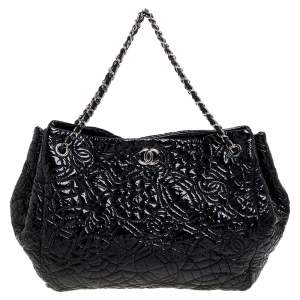 Chanel Black Patent Leather CC Hobo