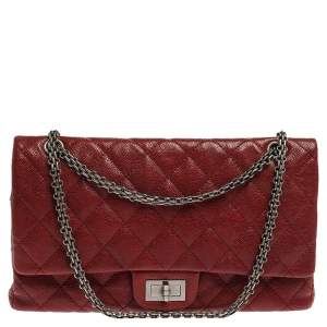 Chanel Red Quilted Caviar Leather Jumbo Reissue 2.55 Classic 227 Flap Bag
