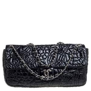 Chanel Black Camellia Embossed Patent Leather Classic Single Flap Bag