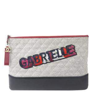 Chanel Multicolor Fabric and Wool Vintage Gabrielle Clutch