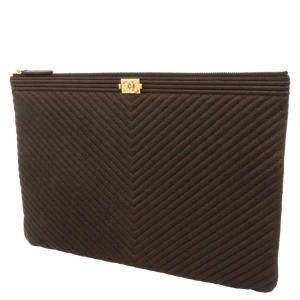 Chanel Brown Caviar Leather Chevron Boy Clutch Bag