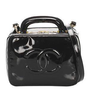 Chanel Black Patent Leather CC 2way Vanity Bag