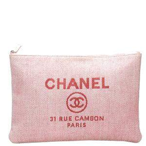 Chanel Pink Tweed Deauville Large Clutch Bag