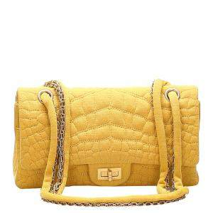Chanel Yellow Croc Stitch Cotton Reissue Double Flap Bag