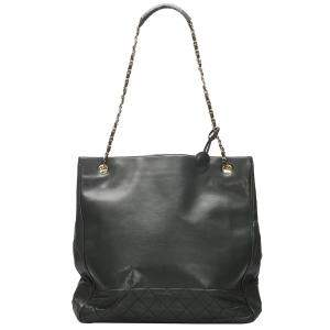 Chanel Black Leather CC Timeless Chain Large Tote Bag