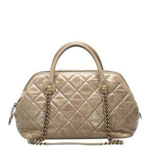 Chanel Brown Quilted Calfskin Leather Castle Rock Bowler Bag