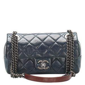Chanel Blue Quilted Leather Vintage CC Flap Bag