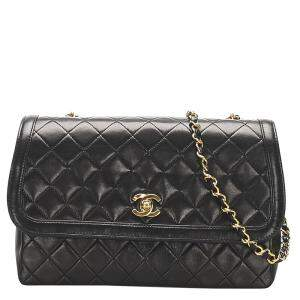 Chanel Black Lambskin Leather CC Flap Bag