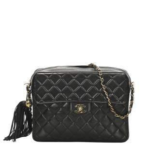 Chanel Black Lambskin Leather Classic Flap Bag