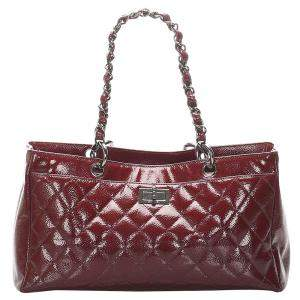 Chanel Red Leather Classic Reissue Tote Bag