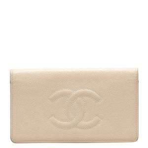 Chanel Beige Leather Timeless CC Yen Wallet