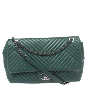 Chanel Green Crossing Quilted Leather CC Flap Shoulder Bag