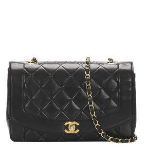 Chanel Black Lambskin Leather Vintage Diana Flap Bag