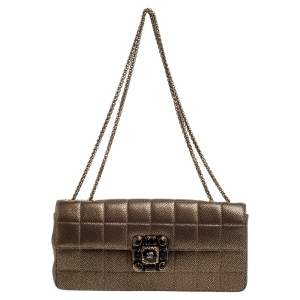 Chanel Bronze Textured Leather CC Gripoix East West Flap Bag