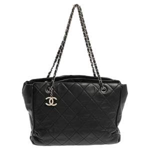 Chanel Black Quilted Leather CC Chain Tote