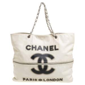 Chanel Cream Leather 2009 London Paris Chain Tote