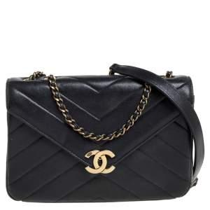 Chanel Black Chevron Leather Coco Envelope Flap Shoulder Bag