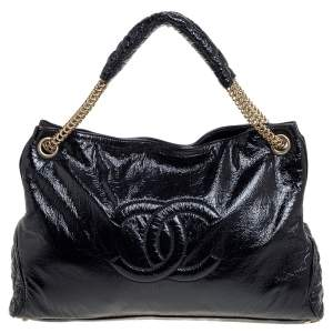 Chanel Black Crinkled Soft Patent Leather CC Chain Hobo
