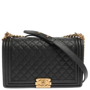 Chanel Black Quilted Caviar Leather New Medium Boy Flap Bag