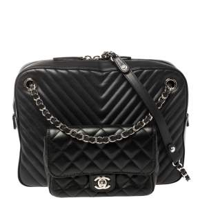 Chanel Navy Blue/Black Quilted And Chevron Leather Metiers d'art Camera Bag