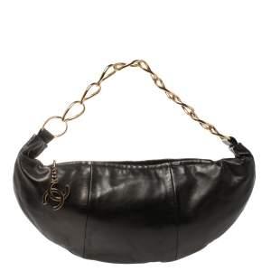 Chanel Black Leather Chain Link Zip Hobo