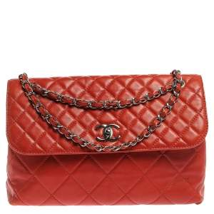 Chanel Orange Quilted Leather In-The-Business Flap Bag